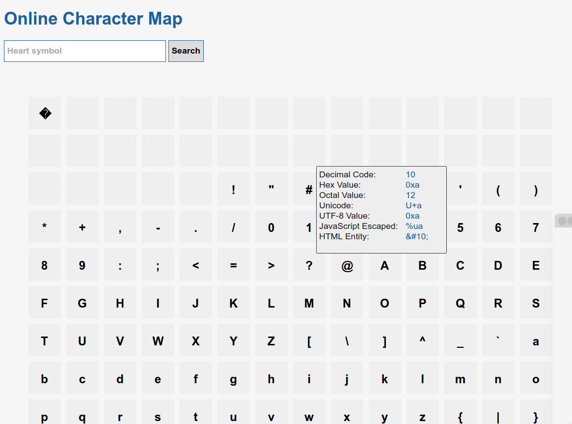 Character Map Online Toolz
